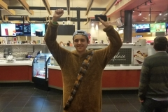 A young fan shows off his Chewbacca costume